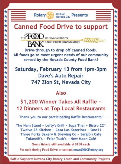 NC Rotary Canned Food Drive and Raffle February 13 2021
